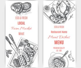 Meat menu card template vector 03