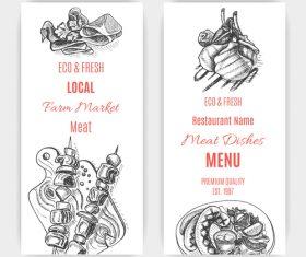 Meat menu card template vector 04
