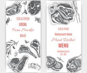 Meat menu card template vector 05