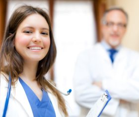 Medical professor and young female student Stock Photo 02