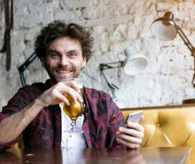 Men having beer in a pub Stock Photo 03