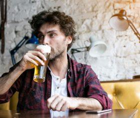 Men having beer in a pub Stock Photo 04