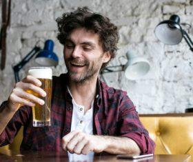 Men having beer in a pub Stock Photo 05