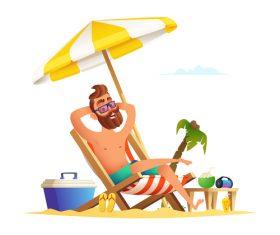 Men summer holiday travel vector
