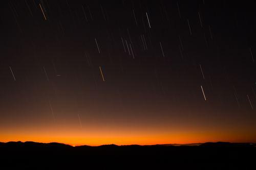Meteor shower Stock Photo