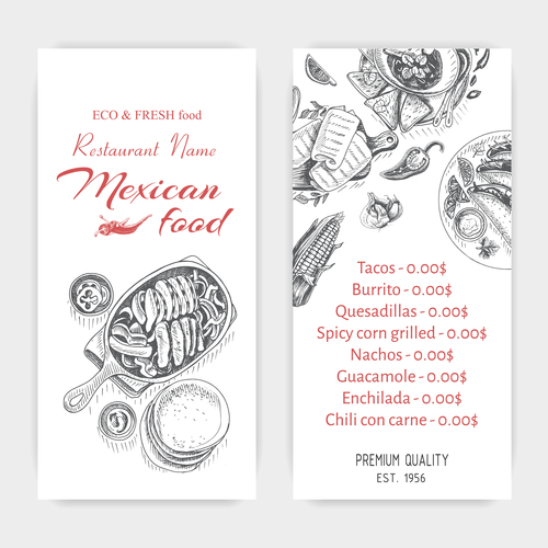 Mexican food menu card template vector 01