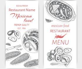 Mexican food menu card template vector 02