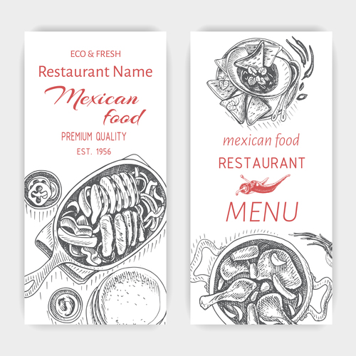 Mexican food menu card template vector 03