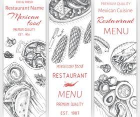 Mexican food menu card template vector 04