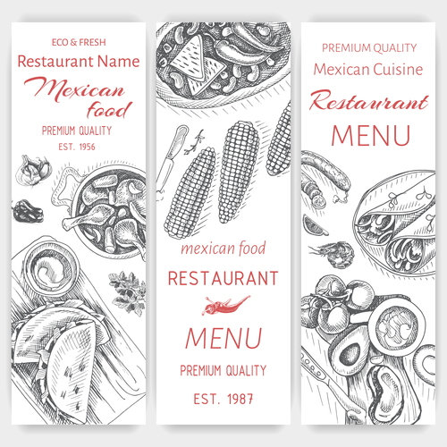 Mexican food menu card template vector 04