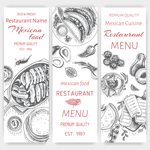 Mexican food menu card template vector 05