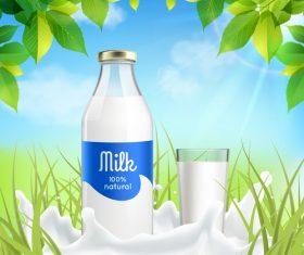 Milk realistic vector poster