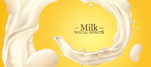 Milk special effect vector illustration