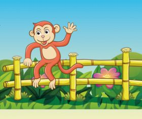 Monkey cartoon illustration on the fence