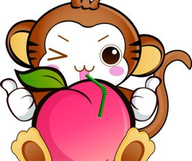 Monkey holding peach vector