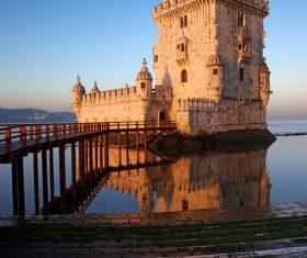 Morning at Belem Tower in Lisbon Stock Photo 04