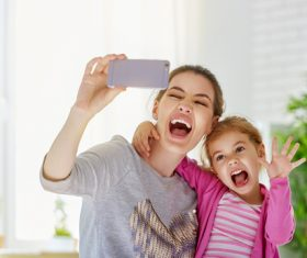 Mother and daughter funny selfie Stock Photo