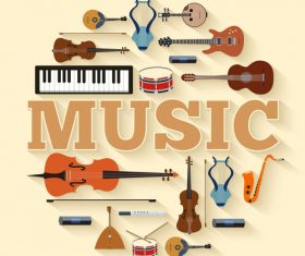 Music Instruments vintage background vector
