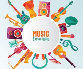 Music background with musical instrument vector
