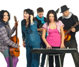Music loving friends Stock Photo