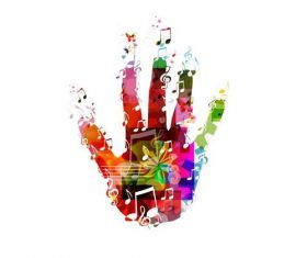 Music with colored hand vector