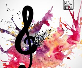 Musical watercolor background design vector