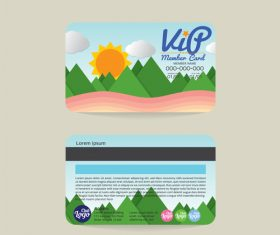 Natural scenery with member card template vector 01