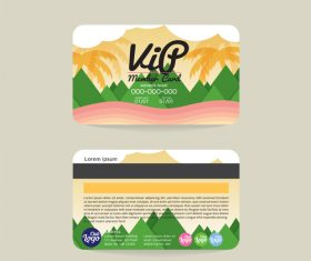 Natural scenery with member card template vector 02
