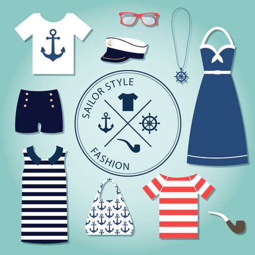 Navy sailor mens ladies dress vector