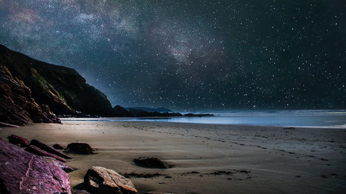Night starry sky beach scenery Stock Photo