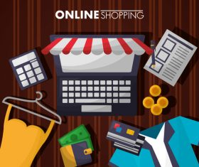 Online shopping web design material vector 01