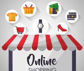 Online shopping web design material vector 02