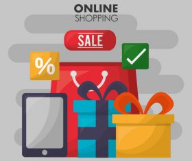 Online shopping web design material vector 03