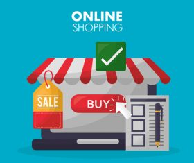 Online shopping with buy button web design vector 01