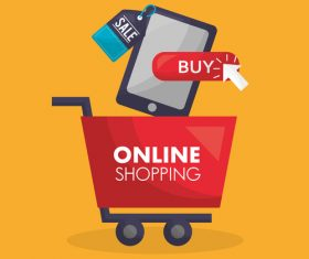 Online shopping with buy button web design vector 02
