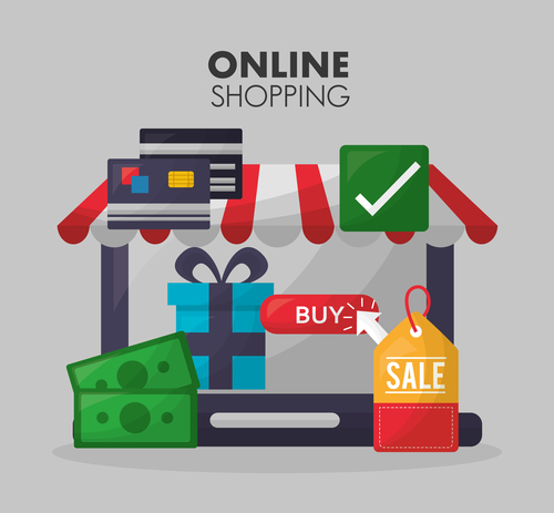 Online shopping with buy button web design vector 03