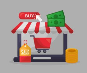 Online shopping with buy button web design vector 04