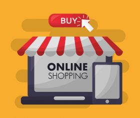 Online shopping with buy button web design vector 05