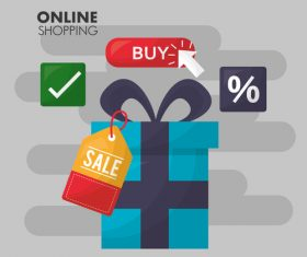 Online shopping with buy button web design vector 06
