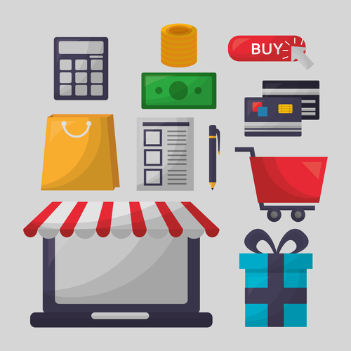 Online shopping with buy button web design vector 07