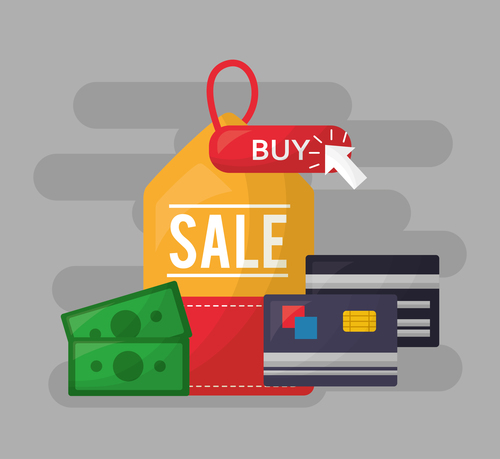 Online shopping with buy button web design vector 08