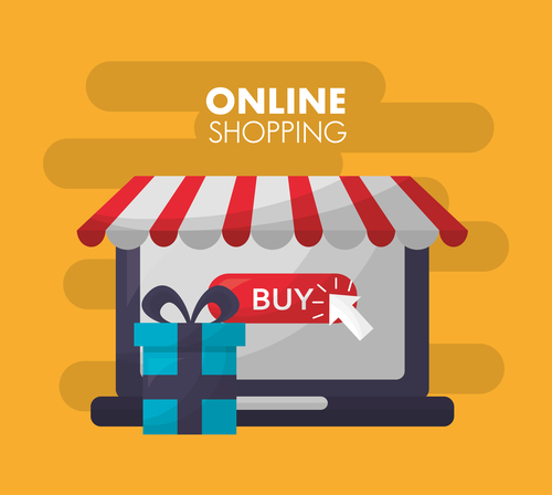 Online shopping with buy button web design vector 09