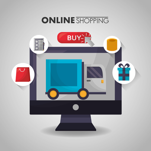 Online shopping with buy button web design vector 10