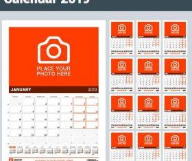 Orange 2019 calendar desk template vector 01