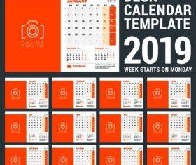 Orange 2019 calendar desk template vector 02