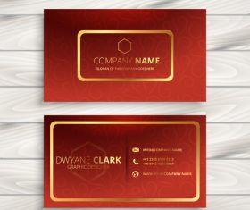 Orange red business card template creative vector