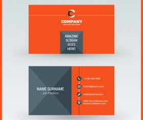Orange red business card template vector 01