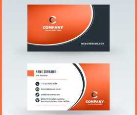 Orange red business card template vector 02