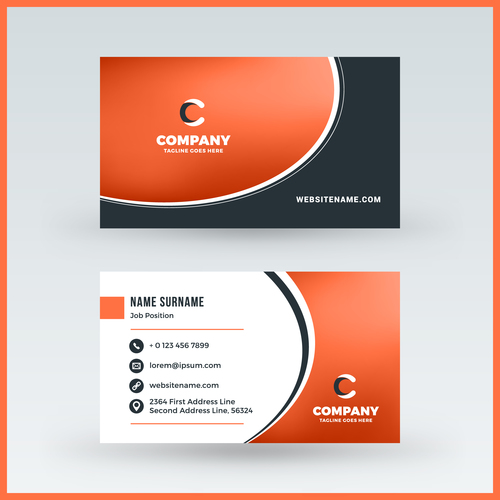 Orange Red Business Card Template Vector 02 Free Download