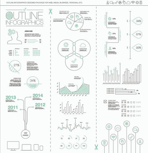 Outline infographics with cut lines vector